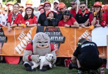 Kirby the bulldog and mascot petting