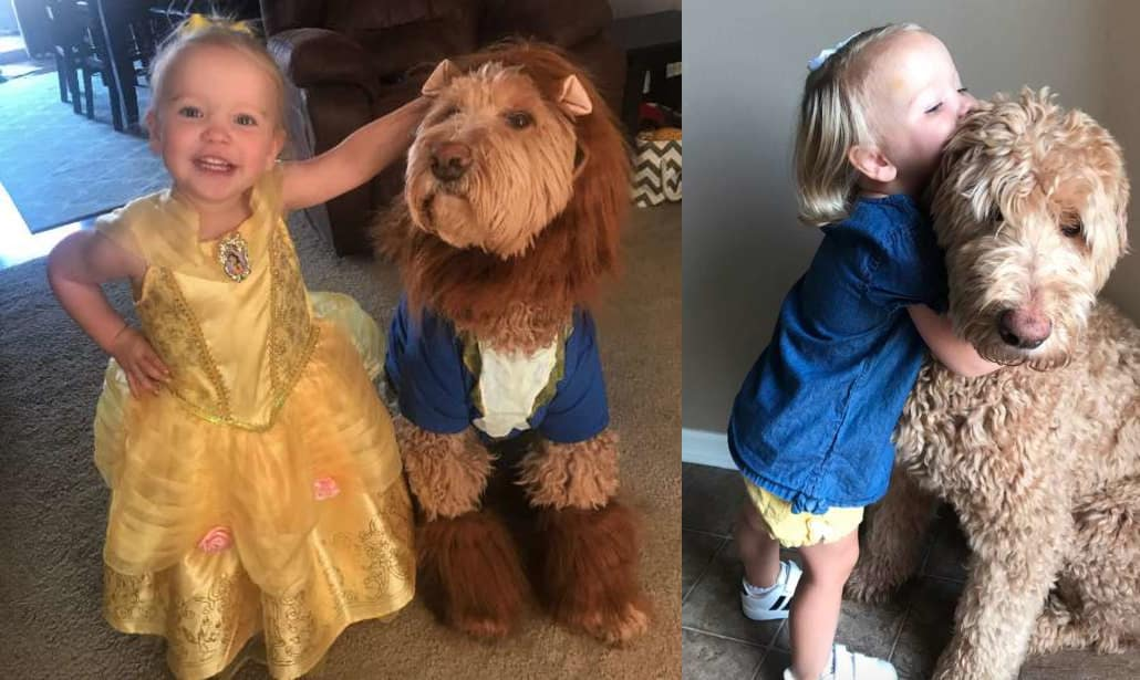 child and her dog love