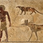 Man walking a dog in ancient Egypt